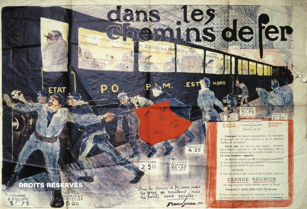 affiches politiques lors de la grève des cheminots en 1910