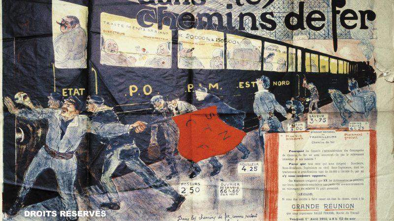 affiche politique lors de la grève des cheminots en 1910